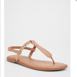 Tan Rose Gold Braided T-Strap Sandals WW